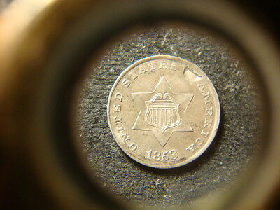 1853 BU AU  Silver 3 Cents Nice Three Cent Trine Obverse imperfection