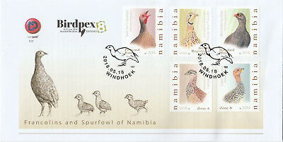 Namibia 2018 FDC BIRDPEX Francolins and Spurfowl of Namibia Windhoek, 18.05.18