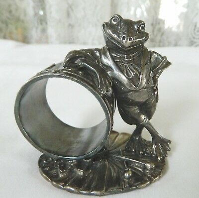 Reed & Barton 1824 Collection Figural Frog Silverplate Napkin Ring 1999
