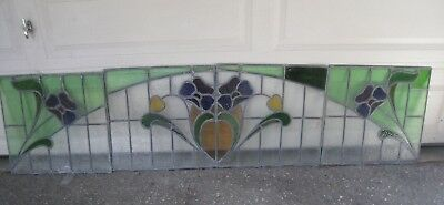 4 vintage leaded  stained glass window panels NO SHIPPING