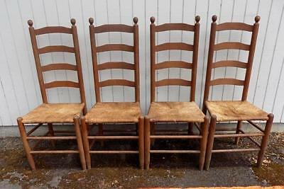 4 Antique Shaker Style Oak Ladder Back Rush Seat Dining Chairs Spindle Country