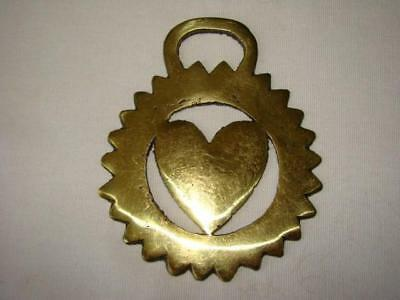 Vintage Solid Brass Horse HARNESS Medallion Tack HEART Rosette, Sawtooth Edge