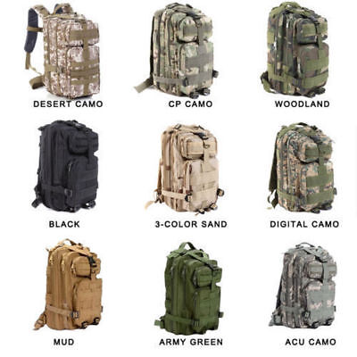 30L Hiking Camping Bag Army Military Tactical Trekking Backpack Camo Mountaineer