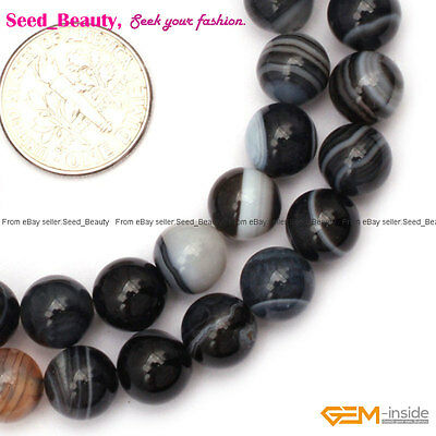 8mm Round Smooth Balck Dzi Tibet DIY Jewelry Making Loose Beads Strand 15""