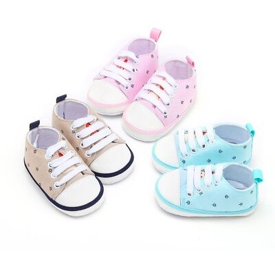 Newborn Infant Toddler Baby Girls Boys Crown Print Soft Sole Casual Cotton Shoes
