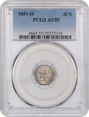 1851-O 3cS PCGS AU55 - Popular & Scarce O-Mint Trime - 3-Cent Silver