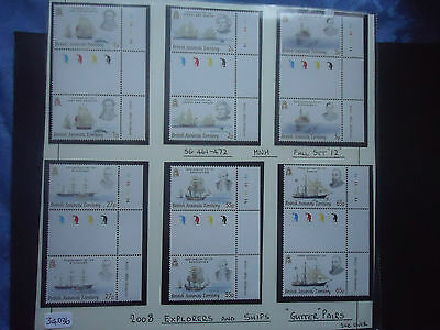 british antarctic territory 2008 explorers and ships gutters 12v sg 461-472 MNH