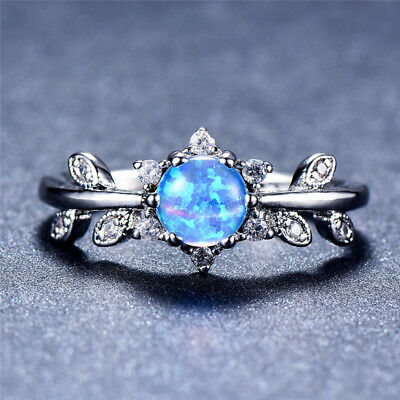 Opal Wedding Band.925 Silver Micro Pave Leaf Cz Six Claws Round Blue Fire Opal Wedding Band Rings