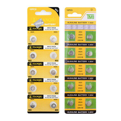 10Pcs AG3 LR41 392 SR41 192 LR736 SR41W Button Coin Cell Alkaline Battery 1.55V