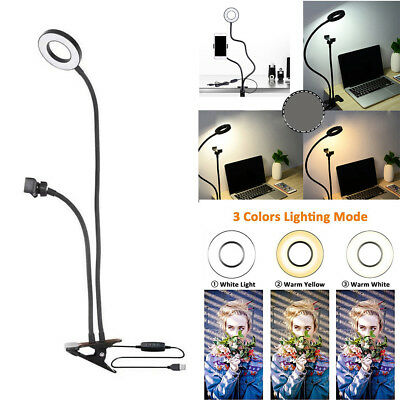 Selfie Ring LED Light with Cell Phone Holder Stand for Live Stream and Makeup US