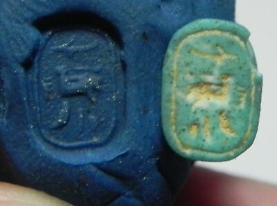 ZURQIEH -as6748- ANCIENT EGYPT, NEW KINGDOM FAIENCE SCARAB. 1400 B.C