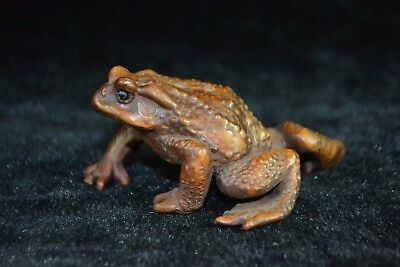 chinese culture Collectible Old boxwood Carve lifelike frog rare netsuke Statue