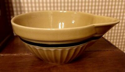 """Yellow ware 10"""" stoneware spout mixing bowl blue white banded Park Designs"""