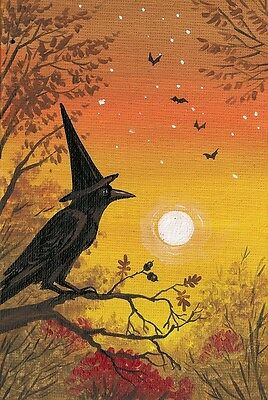1.5x2 DOLLHOUSE MINIATURE PRINT OF PAINTING RYTA 1:12 SCALE CROW WITCH HALLOWEEN