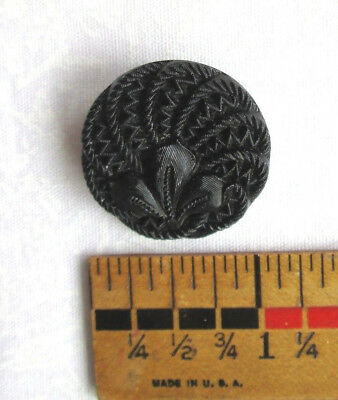 Antique Round Black Glass Flower Picture Button 1""