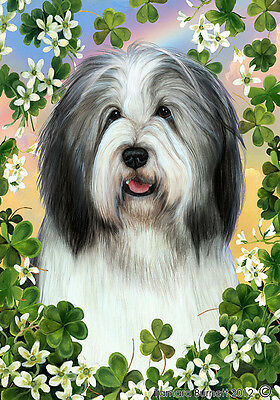Large Indoor/Outdoor Clover Flag - Blue & White Bearded Collie 31170