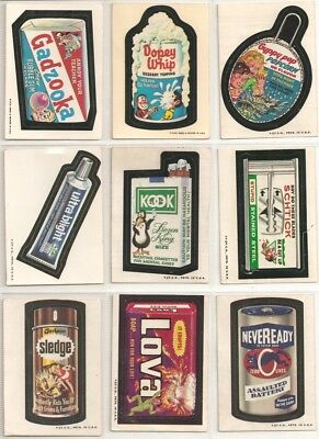 Vintage Lot of 9 Wacky Packages 1st 2nd 3rd Series White Tan Backs - 1973