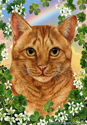 Large Indoor/Outdoor Clover Flag - Orange Tabby Cat 31955
