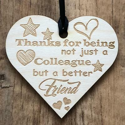 Colleague Friendship Wooden Hanging Plaque Heart Leaving Thank You Gift LPA3-137