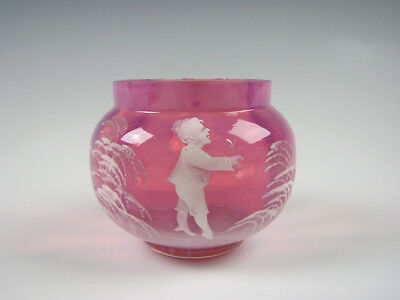 Antique Enamel Glass Mary Gregory Art Glass pink opalescent Small Bowl