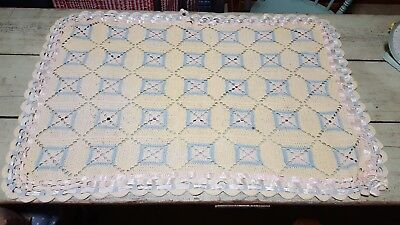old vintage hand made crocheted baby blanket antique? Ribbons around outside