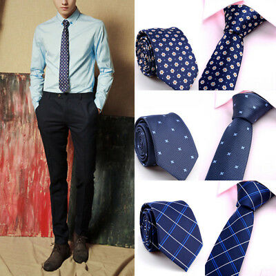 Slim Plain Mens Solid Formal Skinny Neck Party Wedding Tie Silk Stripe Necktie