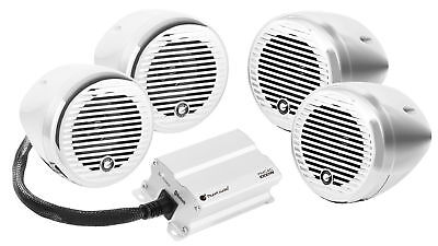 "Planet Audio PMC4C (4) 3"" Motorcycle/ATV Bluetooth Handlebar Speakers+Amplifier"