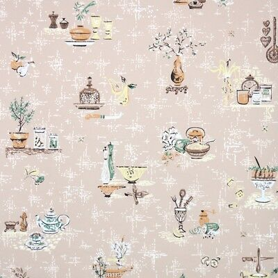 1950s Kitchen Vintage Wallpaper Midcentury Utensils And Dishes On Tan