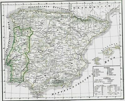 Echte 174 Jahre alte Landkarte PORTUGAL SPANIEN Old Map of Portugal + Spain 1844