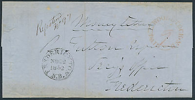 1852 Registered SFL, Woodstock NB to Fredericton, Paid 9