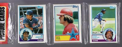 1983 Topps BASEBALL CARD Unopened Rack Pack PETE ROSE Reds,OZZIE SMITH Showing