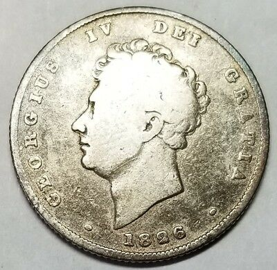 UK 1826 Silver One Shilling George IV KM #694 Free Shipping