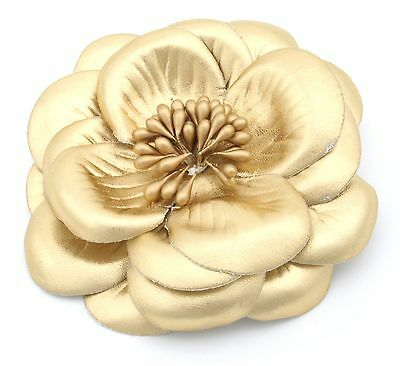 Zest Large Flower Hair Slide Clip Corsage with Metallic Finish Gold