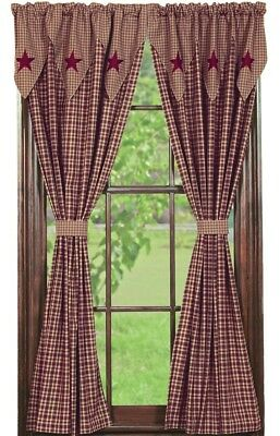 Olivia's Heartland country primitive Vintage Star Wine Panel curtains 72x84