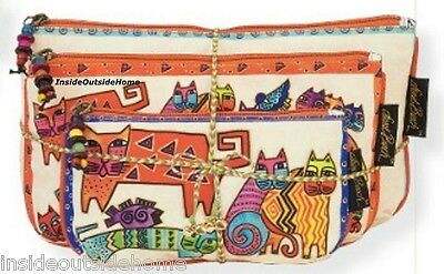 Laurel Burch Karly's Cats Makeup Bag 3pc Organizer Set w Tie String NEW Retired