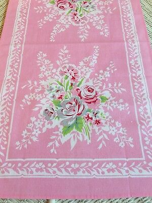 New LuRay Vintage Style Pretty Kitchen Tea Towel - Beautiful PINK Floral Print