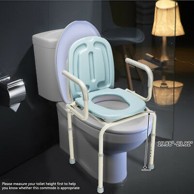 Commode Chair Raised Over Toilet Seat Chair Gray