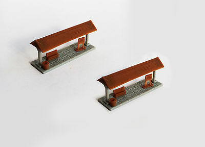 Outland Models Train Railway Layout Small Station Passenger Platform x2 Z Gauge