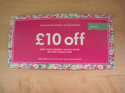 Unused Joules Clothing Discount Voucher up to 25% £10 off >£40 in-store/online