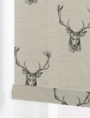 Stags CHARCOAL Made To Measure Patterned Roller Blinds  BLACKOUT or STANDARD