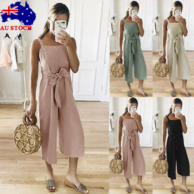 Women Summer Strappy Jumpsuit Playsuit Wide Leg Solid Ladies Romper Size 10-18