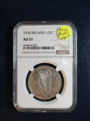 1934 Ireland HALF CROWN NGC AU53 SILVER 1/2C Coin PRICED TO SELL QUICKLY!!
