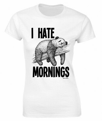 Ladies Funny Cute Panda Bear T-Shirt I hate Mornings Top