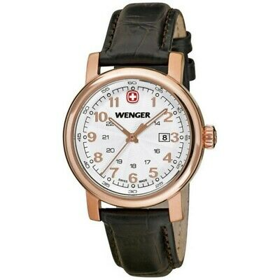 Wenger 01.1021.108 Urban Women's Black Leather Band With White Analog Dial Watch