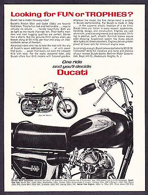"""1965 Ducati 250 & 160 Monza Motorcycle photo """"Looking for Fun?"""" vintage print ad"""