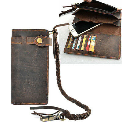Vintage Men Leather Long Chain Wallet Card Holder Checkbook Trucker Biker Purse