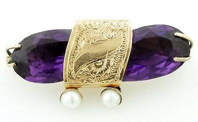 ANTIQUE VICTORIAN 1890''s AMETHYST PIN. 18K GOLD MOUNTING WITH PEARL DROPS