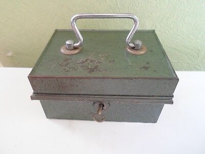 SMALL SIZE VINTAGE RETRO Quirky Old Cash Tin With Lift Out Plastic Tray+Lock+Key