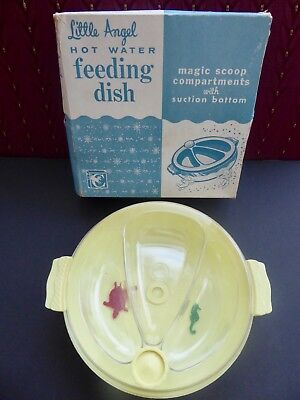 Vintage Child's Floating Fish Yellow Plastic Hot Water Warming Bowl Dish in BOX