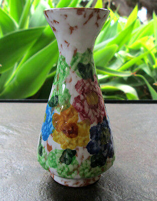 Nasso Rodos Greek Hand Painted Pottery Floral Bud Vase 4.75in Greece